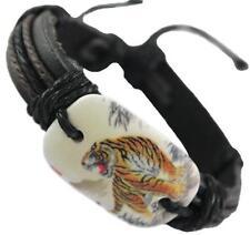 Leather bracelet with Tiger - adjustable