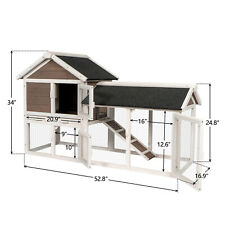 """52.8"""" Wooden Rabbit Hutch Chicken Coop Cage Outdoor Small Animal Pet House w/Run"""