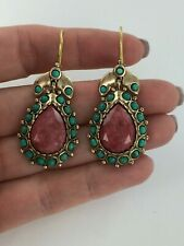 Muse By Gypsy Red Beryl &Turquoise Pear Dangle Bronze Earrings