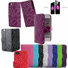 RHINESTON  Diamonte Leather Wallet Flip Case Cover For Apple iPhone 4 5 6 6+