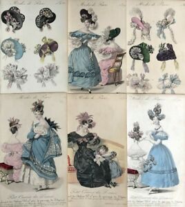 6x Antique Vintage 19th Century Hand Coloured French Fashion Dress Plate Print