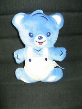 peluche doudou plat grelot ours bleu beige 15 cm nestlé