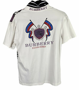 Burberry London Sz M Boys Purple White Polo Short Sleeve Shirt Cotton Collared