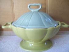 Vintage Rare Waterford Great Room Green Tea Oversize Sugar Bowl & Lid Blue Green