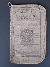 Antique 1809 Dr Low Almanac Coggeshall Nantucket Ma Ships Folk Art Gold Napoleon