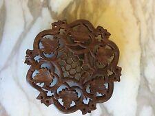 Wood Trivet Lacey Decorative Leaf Motif