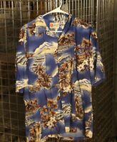 Hilo Hattie Mens Hawaiian Shirt M Ocean Ukulele Hibiscus Palm Trees Blue Brown