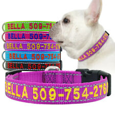 Nylon Embroidered Dog Collar Personalised With ID Name Reflective Adjustable SML