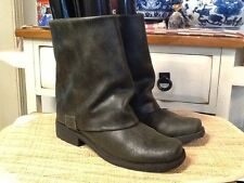 ENVY (Fun Police) Distressed Black Leather Studded Square Toe Boots Women's 7.5