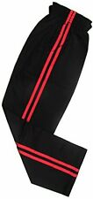 Kickboxing Karate Martial Arts Cotton Pants Black with 2 Red Stripes - 1/140cm