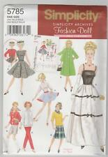 "Simplicity Pattern 5785 Retro Clothes for 11 1/2"" Fashion Doll such as Barbie"
