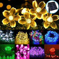 Solar Flower String Light Cherry Blossom 7M 50LED Waterproof Outdoor Garden Lamp
