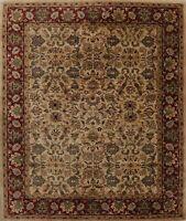 IVORY/BURGUNDY Floral Agra Oriental Area Rug Wool Hand-Tufted 8'x10' Room Carpet