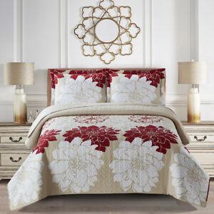 Helena Printed Quilt Floral Coverlet Set Bedspread All Sizes - Gold OR Burgundy
