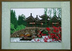 """Chinese embroidery painting landscape bridge flower 20x28""""  Asian feng shui art"""