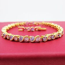 Women Girl Ladies Real Solid 9K Yellow Gold GF Tennis Bracelet Simulated Diamond