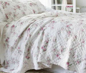 Rachel Ashwell Simply Shabby Chic White Pink Blossom Floral Twin Quilt