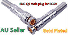BNC Q9 male plug for RG59 Coaxial CCTV Copper solder signal connector adapte