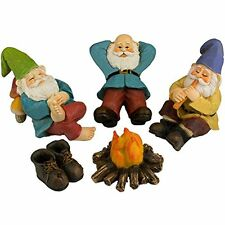 "Outdoor Statues Twig "" Flower The Relax By Campfire (Five Piece) Mini Gnome Set"