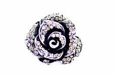 Vintage retro antique style silver rose adjustable ring multiple colours