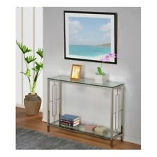 Modern Glass Console Table Furniture Accent Chrome Entryway Hallway Entry Shelf
