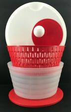Tupperware Spin N Save Salad Spinner Red 4 Quart New
