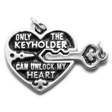 925 Sterling Silver Lock and Key Heart Charm