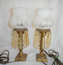 Elegant Pair Shabby Chic Art Deco Brass Boudoir Lamps W/Lucite Prisms