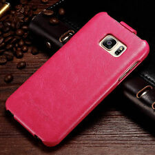 Luxury Leather Vertical Flip Case Cover For Samsung Galaxy Apple iPhone Models E