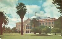 Chrome Postcard AZ I390 Arizona State Capitol Street View Phoenix Palm Trees