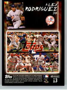 2007 Topps Opening Day Puzzle #P13 Alex Rodriguez - New York Yankees