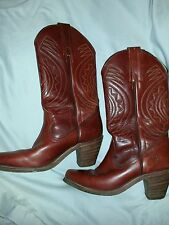 """Vtg Frye Boots Womens 6.5B Embroidered Wine/brown Color Western  2 3/4"""" Heel"""