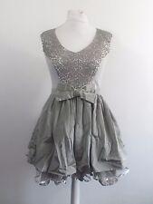 River Island Grey Sequin Midi Prom Dress Size UK 14 RRP £70 Box46 60 G
