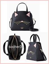 KATE SPADE CAT'S MEOW CAT SMALL LOTTIE SATCHEL/XBODY BAG BLACK PXRU9448 NWT $328