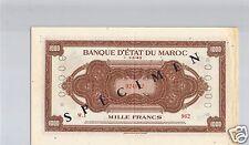 BANQUE D'ETAT DU MAROC SPECIMEN 1 000 FRANCS 1.5.1943 PICK 28 S TRES RARE !!!