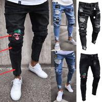 US All Waists Men Skinny Stretch ripped Jeans Slim Fit Flex Denim Trousers Pants