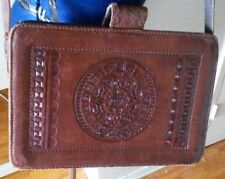 Vintage brown leather tooled on two sides bag purse cross body medium