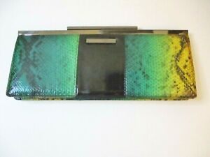 Kenneth Cole Reaction Snake Print Clutch, Yellow, Green, Black, Nickel Hardware