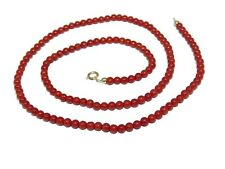 Necklace in  Coral of  the Mediterranean  18 k  Yellow Gold  From Italy Handmade