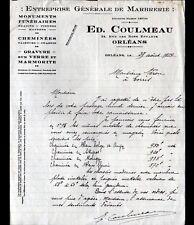 """ORLEANS (45) MARBRERIE / GRAVURE sur VERRE """"Ed. COULMEAU Marbrier"""" en 1934"""