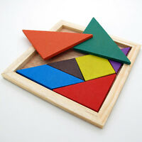 Funny Wooden Tangram Brain Teaser Puzzle Educational Developmental Kids Toy AUBD