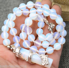 """8mm White Opal Moonstone Round Beads Gems Pendant Necklace 18"""""""