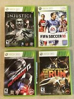 XBox 360 Game Lot: Injustice, Fifa 10, Need For Speed Hot Pursuit & The Run L.E.