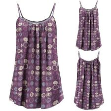 Womens Loose Sleeveless Plus Size Printed Tops Basic Camisole Tank Top Vest 8-20
