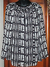 NEW Coldwater Creek Night and Day Blouse SZ L 14 NWT Misses/Womens Black/White