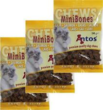 Antos Mini Bones Dog Training Treats ~ 3 x 200g Bags ~ Salmon Flavour