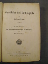 "GERMAN BOOK ""HISTORY OF THE VIOLIN PLAYING"" BY ANDREAS MOSER, 1923 FOR PARTS"