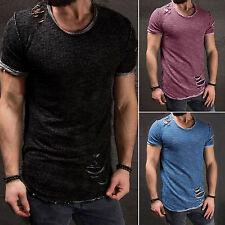 Herren Kurzarm Shirt Slim Fit Muscle Muskelshirt Röhren Top T-Shirts Tee Sommer