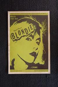 Blondie 1977 Tour Poster With Crime Mabuhay Garden  San