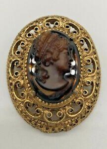 Florenza Vintage Faux Tortoise Carved Cameo Brooch Or Pendant. Gold Tone JW1006